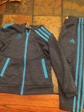 Adidas Toddlers Size 3T Zip Logo Jacket and Pant Set Blue , Gray, Black Mint