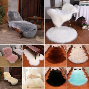 Fluffy Faux Fur Sheepskin Rug Warm Floor Furry Carpet Washable Bedroom Room Mats