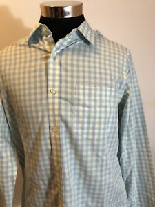 Banana Republic Mens Large  Dress Shirt Blue&White&Yellow Plaid Non Iron A1