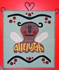 angel wall hanging felt embroidery applique allelujah wire hanger prim rustic