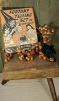 VINTAGE PRIMITIVE RETRO STYLE HALLOWEEN WITCH FORTUNE TELLING 8 X 10 CANVAS SIGN