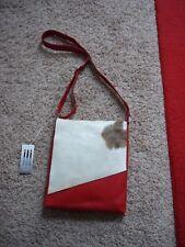 NWT ILI New York Red Genuine Leather Cowhide Fur Cross Body Messenger Bag New