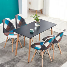 Modern Dining Table Wood Legs Rectangle Dining Room Kitchen Home Furniture Black