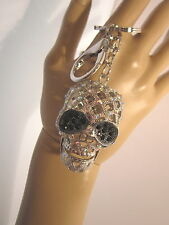 Schlüsselanhänger Taschenanhänger STRASS Totenkopf Skull Kristall Silber Schwarz