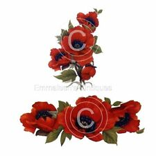 Vintage Image Shabby Red Poppies and Swag Waterslide Decals FL152