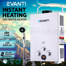 Portable LED Gas Hot Water Heater Shower Camping 480L/H LPG Instant 4WD White