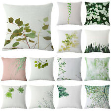 Green Plant Linen Cotton Cushion Cover Throw Pillow Case Home Bed Sofa Car Decor