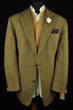 """Vtg Harris Tweed Checked Herringbone Tailored Hacking Jacket 46"""" #261 SUPERB"""