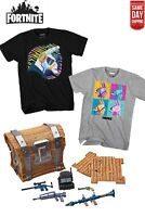 LICENSED Boy's FORTNITE Loot Llama Pinata Emote Short Sleeve T-Shirt & LOOT BOX