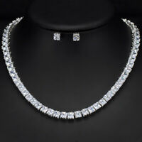 CWWZircons Square Cubic Zirconia Women Silver Tennis Necklace Earrings Sets