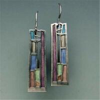Multi-Color Gemstone Women 925 Silver Ear Hook Drop Dangle Party Earrings Gift