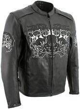 Xelement B95010 Bones Men Size 3XL Black Armored Cruiser Motorcycle Jacket Skull
