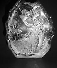 Heavy Clear Glass Engraved Caribou Elk Figurine Paperweight Excellent Condition