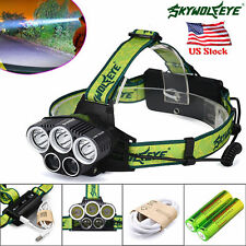 SKYWOLFEYE CREE XML 5X T6 LED 25000 Lm Head Lamp Rechargeable Torch + 2x18650 VP
