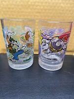 McDONALDS Disney World 100 Years of Magic 25th Anniversary Cups Glasses Set of 2