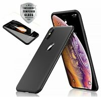 Case Thin Hard Cover + Tempered Glass Screen Protector For iPhone X XR XS Max