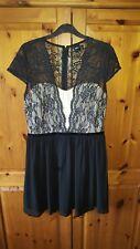 Asos black lace skater dress - size 14