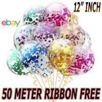 "100 Pack Confetti Balloons Latex 12""Decorations Helium Birthday Hen Party Weddin"