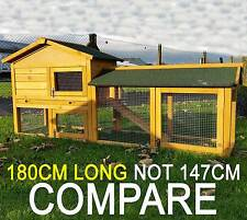 LARGE RABBIT HUTCH GUINEA PIG HUTCHES RUN 2 TIER DOUBLE DECKER CAGE NATURAL