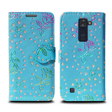Buy 1 Get 1 Leather Wallet Flip Book Style Phone Case Cover for LG Stylus 2 Metallic Flower Sky Blue - Glitter Embossed Twinkl