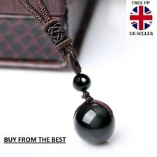 Natural Black Rainbow Eye Obsidian Pendant Necklace sent with velvet pouch UK