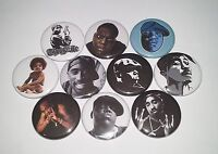 10 B.I.G and 2PAC Pin Badges 25mm Biggie Smalls Notorious BIG Tupac Shakur