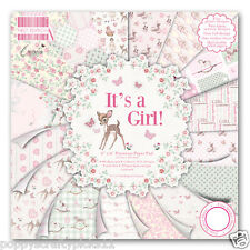 64 SHEET FULL PACK 6 x 6 IT'S A GIRL BABY CARD MAKING SCRAPBOOKING CRAFT PAPER