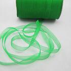"""NEW Christmas hot sale 50 Yards 3/8"""" Edge Sheer Organza Ribbon Craft Satin Green"""