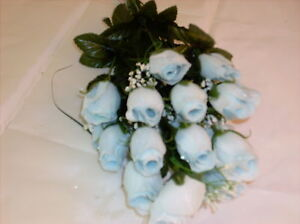 108 SILK FLOWERS- BABY BLUE BUD ROSES-WEDDINGS - 18 BUDS PER BUSH WITH 6 BUSHES