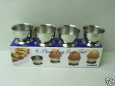 New Sunnex Stainless Steel Boiled Egg Cup Cups  Set Pk 4
