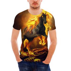Horse Print Mens Round Neck Short Sleeve T Shirts Slim Fit Casual T-Shirt S-XXL