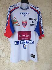 Maillot rugby F.C.L LOURDES porté n°17 match worn shirt moulant FORCE XV XL