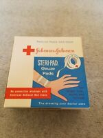 "VINTAGE (FULL) BOX JOHNSON & JOHNSON  STERI-PAD GAUZE PADS BANDAGES 3""X 3"""