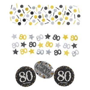 80th Birthday Decorations Confetti Milestone Silver Gold Sparkling Glitter