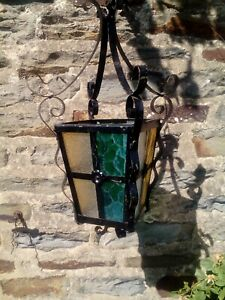 Vintage French Hall/ Porch light/ lamp Chandelier pendant lantern iron glass