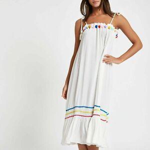 Women Ladies ex River Island pom pom beach dress