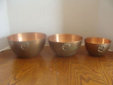 3 Pre-Owned Copper Nesting Mixing Bowls With Brass Hanging Rings -Guc