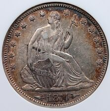1874 SEATED HALF DOLLAR PCGS EF 45 BRILLIANT CENTERS EXCELLENT RIM TONE