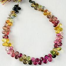 Rubellite Green Yellow Tourmaline Pear Briolette Beads 9.5 inch strand