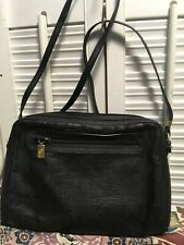 GUCCI Vintage Canvas Leather Trim Crossbody Shoulder Handbag Purse Black Distres
