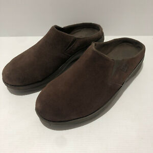 Fitflop Loaff brown suede slip on clog shoes EU 41 UK 7 VGC classic