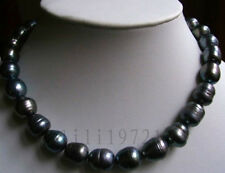 """8X9MM Black Freshwater Rice Pearl Necklace 18"""" LL006"""
