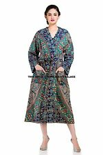 Elephant Mandala Women Long Kimono Robe Wedding Gown Cotton Indian Night Wear