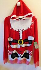 NWT Adult Size Small Ugly Christmas Sweater Hooded Red Santa Claus Suit Unisex!