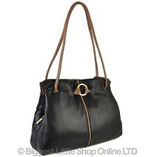 NEW Ladies Soft LEATHER TwoTone Shoulder HANDBAG GiGi OTHELLO Collection Classic