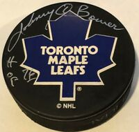 JOHNNY BOWER SIGNED AUTOGRAPHED TORONTO MAPLE LEAFS PUCK HOF