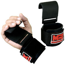 POWER WEIGHT LIFTING TRAINING WRIST SUPPORT FITNESS GYM HOOK BAR STRAPS BLACK