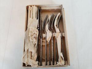 1900's Plain Pattern 6 Forks & 6 Knives Silver Plate H. A. Kamps Appleton Wis