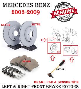 Mercedes Front 2 Disc Brake Rotors w/ Brake Pad & Sensor E320 E350 W211 Genuine