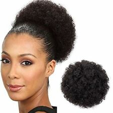 Afro Buns for Black Women Kinkys Curly Hair Ponytail Short Black Brown Wig Puff